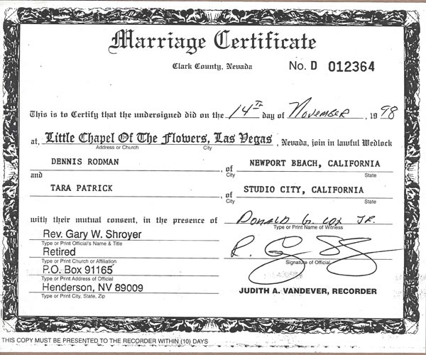 Marriage Certificate Dennis Rodman and Carmen Electra Wedding | Chapel of the Flowers | Las Vegas Wedding