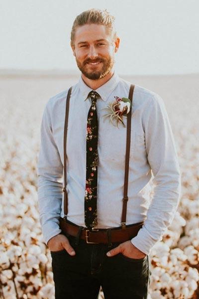 Groom with Suspenders | Men's Wedding Attire | Fall Wedding Ideas