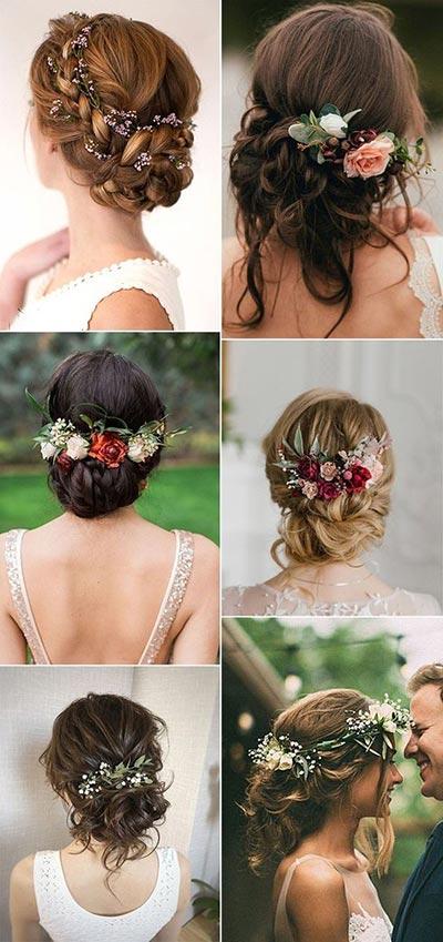 Fall Wedding Hair with Flowers | Wedding Hairstyles | Wedding Hair Ideas | Fall Wedding Ideas