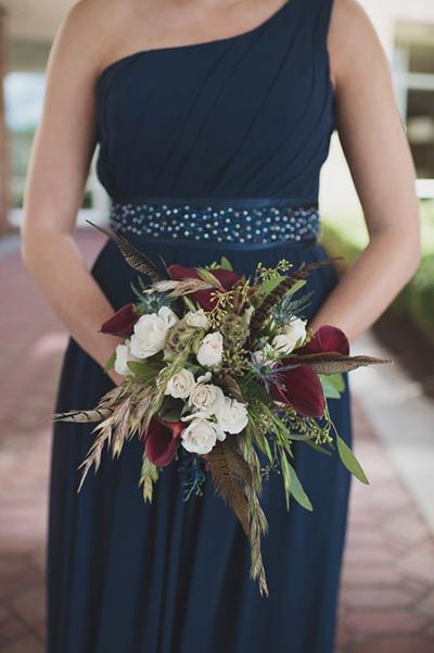 Wheat and Feathers Bridesmaids Bouquet | Bouquet Ideas | Fall Wedding Flowers | Fall Wedding Ideas