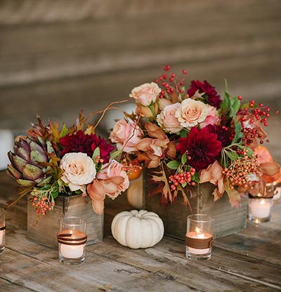 Wooden Box Centerpiece | Fall Reception Décor | Fall Wedding Ideas