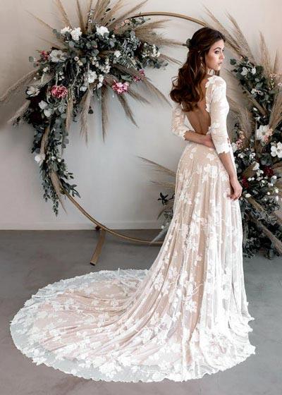 Long Sleeve Backless Wedding Dress | Wear Your Love | Fall Wedding Gowns | Fall Wedding Ideas