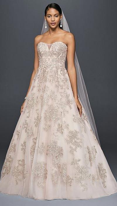 Champagne Lace Wedding Dress | Oleg Cassini | Fall Wedding Gowns | Fall Wedding Ideas