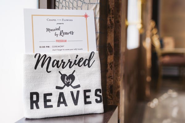 Custom Rally Towel and Program | Ryan Reaves at Wedding in Las Vegas | Golden Knights | Chapel of the Flowers