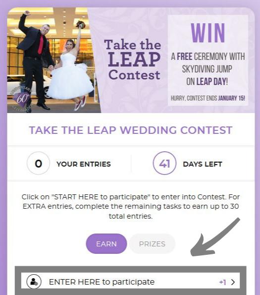 "How to enter ""Take the Leap"" Day Wedding Package"