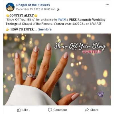 Post Ring Photo | Win a Las Vegas Wedding Package | Wedding Contests and Giveaways