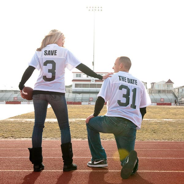 Football Enagement Photo Ideas | Sports Themed Wedding Ideas