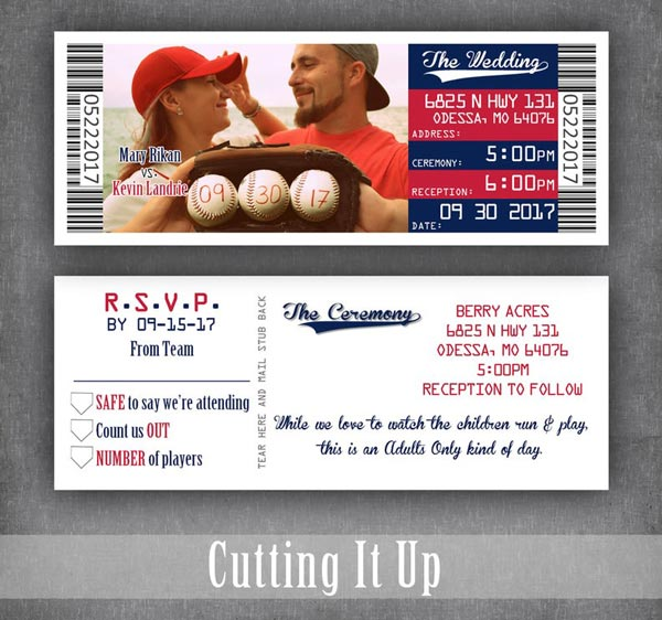 Sports Ticket Wedding Invitations and Save the Dates | Sports Themed Wedding Ideas